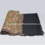 Flower All Over Embroidered Black  Kashmiri Shawl