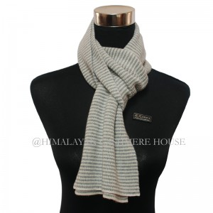Gray and White  Strip Cashmere Scarf