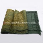 Green Paisley Embroidered Green Kashmiri Shawl
