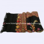 Embroidered  Black  Kashmiri Shawl