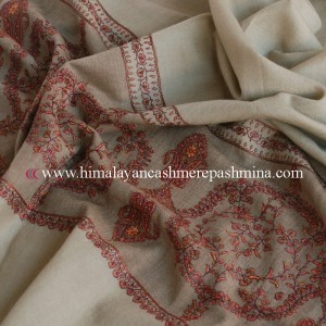 Tan Needle Embroidered Pashmina Shawl