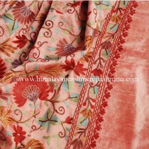 Pink Embroidered Kashmiri Silk Shawl