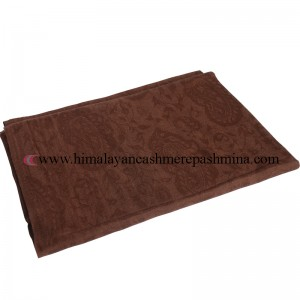 Jacquard Paisley Saddle Brown Cashmere Shawl