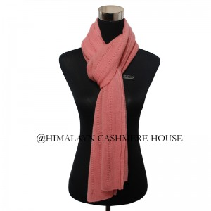 Peach knitted cashmere shawl