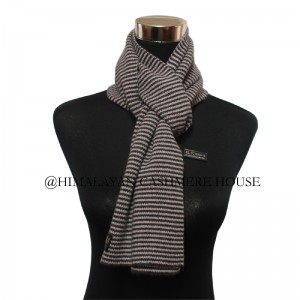 Black and Off white Strip Cashmere Scarf