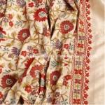 Cream Embroidered Kashmiri Pure Silk Shawl