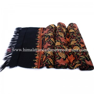 Embroidered Black Kashmiri Shawl