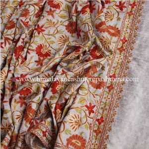 Light Grey  Embroidered Kashmiri Silk Shawl