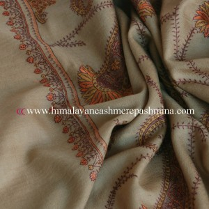 Grey Needle Embroidered Kashmiri Shawl
