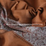 Golden Brown Needle Embroidered Pashmina Shawl