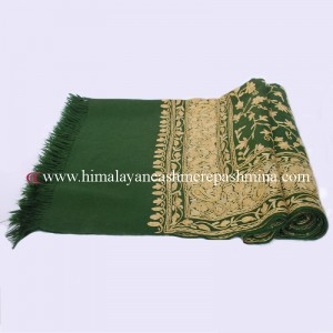 Green Kashmiri Shawl With Flower Embroidered All Over