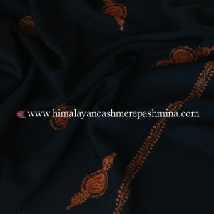 Black Needle Embroidered Kashmiri Shawl