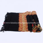 Black Kashmiri Shawl With Flower Embroidered All Over