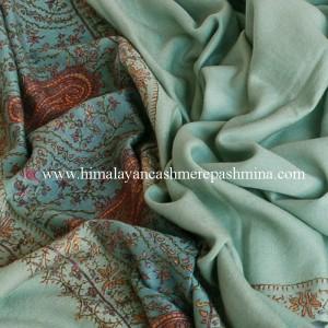 Celedon Needle Embrodered Pashmina Shawl