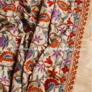 Cream Embroidered Kashmiri Silk Shawl
