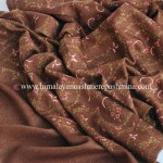 Brown Needle Embroidered Pashmina Shawl