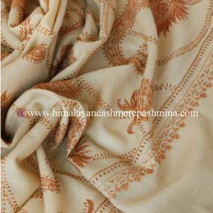 Cream Needle Embroidered Kashmiri Shawl