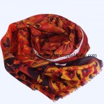 Paper Silk  Shawl Indian Red