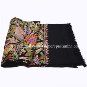 Flower Motif Embroidered Black Kashmiri Shawl