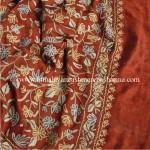 Burgandy Kashmiri Silk Shawl