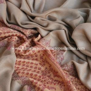 Light Bronze Needle Embroidered Pashmina Shawl