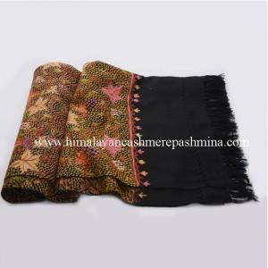 Autumn Leaf Embroidered Black Kashmiri Shawl