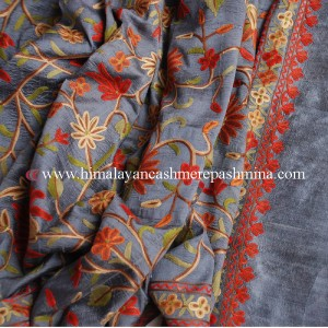 Blue Embroidered Kashmiri Silk Shawl