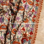Cream Embroidered Kashmiri Silk Shawl