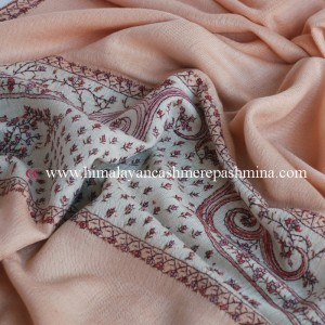 Peach Puff Needle Embrodered Pashmina Shawl