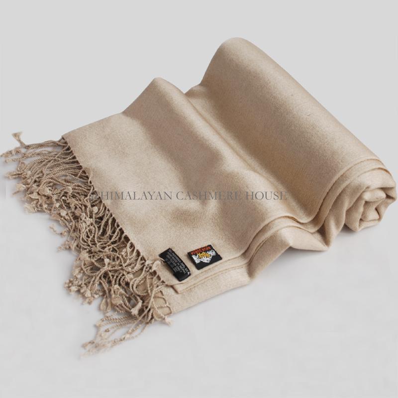 0cd8605db Cream Reversible Cashmere Pashmina Silk Blend Shawl