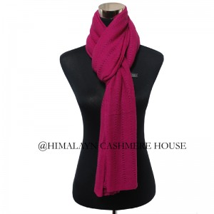Pink Knitted Cashmere Shawl