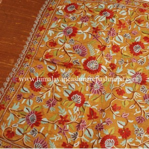 Autumn-Leaf Embroidered Kashmiri Silk Shawl