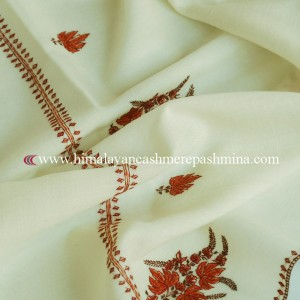 Off White Needle Embroidered Kashmiri Shawl