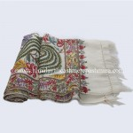 Flower All Over Embroidered White Kashmiri Shawl