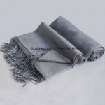 Grayish Blue Reversible Pashmina Cashmere Silk Blend Wrap | Shawl