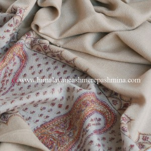 Light Tan Needle Embroidered Pashmina Shawl